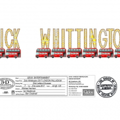 Dick Whittington Design Busses an letters