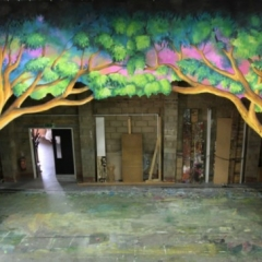 Woodland-cut-2013-Snow-White-Theatre-Sets-Props-Scenery-Hand-painted-Design-Backcloths-in-workshop-1-